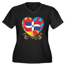 Dominican Women's Plus Size V-Neck Dark T-Shirt