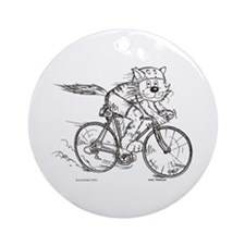 Bicycle Cat Ornament (Round)