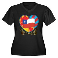 Chilean Heart Women's Plus Size V-Neck Dark T-Shir
