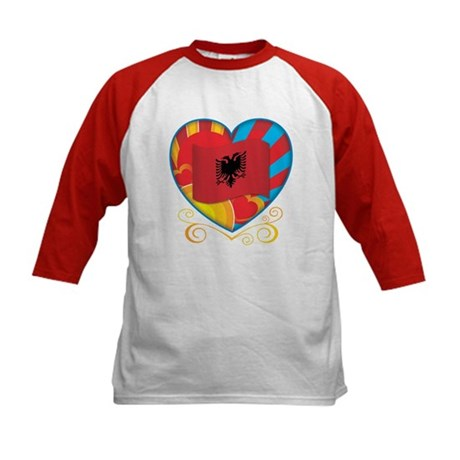 Albanian Heart Kids Baseball Jersey