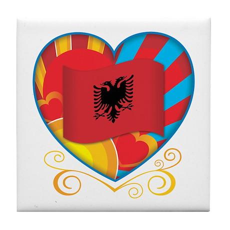 Albanian Heart Tile Coaster