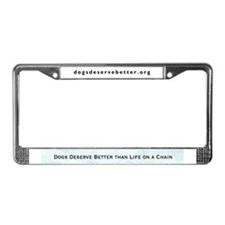 Sad Dog Chained License Plate Frame