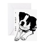 I Love You - Boston Terrier Greeting Cards (Pk of