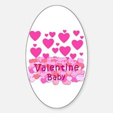 Pink Hearts Valentine Baby Oval Decal