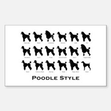 Poodle Styles: Black Rectangle Decal