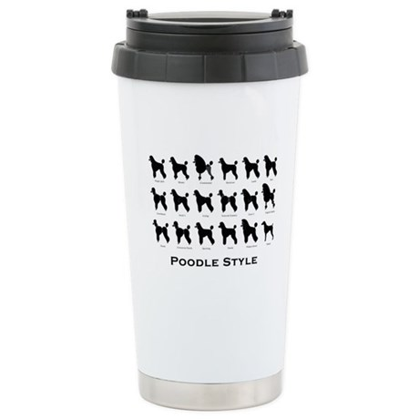 Poodle Styles: Black Stainless Steel Travel Mug