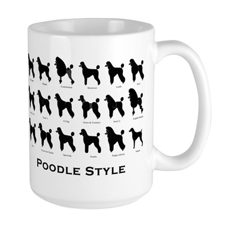 Poodle Styles: Black Large Mug