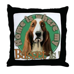 Home is where my Basset is Throw Pillow