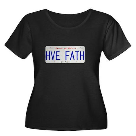 HVE FATH Women's Plus Size Scoop Neck Dark T-Shirt