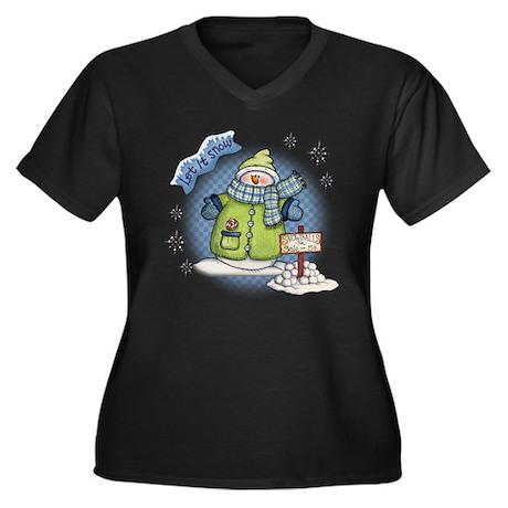 Let It Snow Women's Plus Size V-Neck Dark T-Shirt