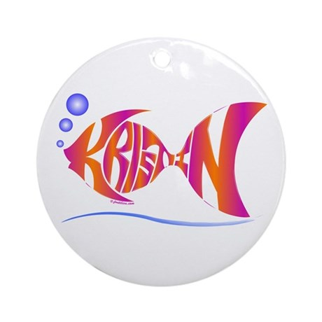 Kristin (Purple and Orange Fish) Ornament (Round)