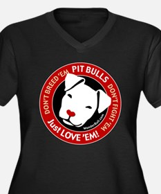 Pit Bulls: Just Love 'Em! Women's Plus Size V-Neck
