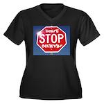 DON'T STOP Women's Plus Size V-Neck Dark T-Shirt