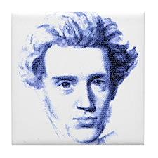 Blue Kierkegaard Tile Coaster