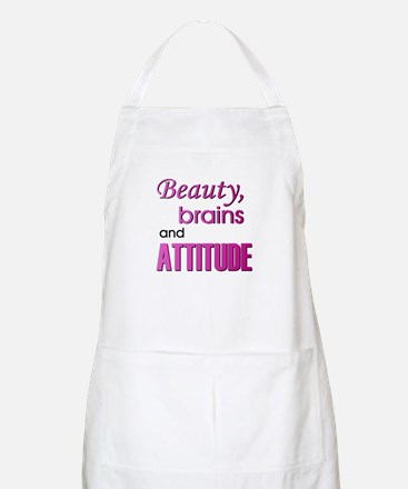 Pink Beauty Brains and Attitude BBQ Apron