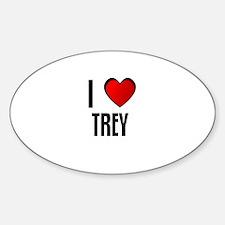 I LOVE TREY Oval Decal