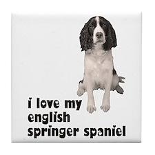 I Love My Springer Spaniel Tile Coaster