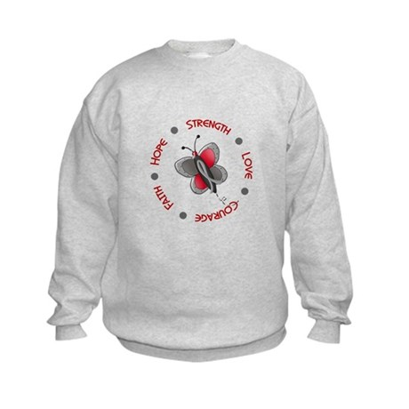 Hope Courage 1 Butterfly 2 PD Kids Sweatshirt