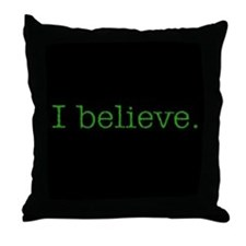 """I Believe"" Alien Throw Pillow"