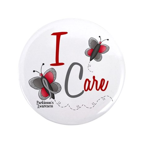 """I Care 1 Butterfly 2 PD 3.5"""" Button"""