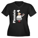 Pizza Chef Women's Plus Size V-Neck Dark T-Shirt