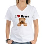 I love Bears Women's V-Neck T-Shirt