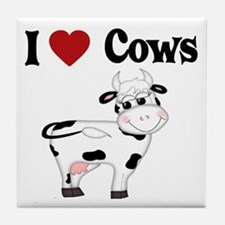 I Love Cows Tile Coaster