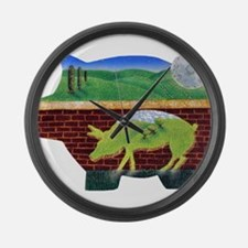 This Little Pig Used Bricks Large Wall Clock