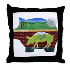 This Little Pig Used Bricks Throw Pillow