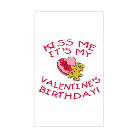 Valentine's Day Birthday Teddy Bear Sticker (Recta