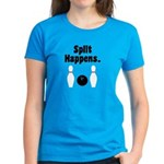 Split Happens Bowling Women's Blue T-Shirt