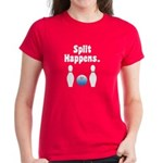 Split Happens Bowling Women's Red T-Shirt