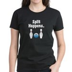 Split Happens Bowling Women's Black T-Shirt