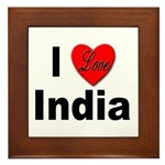 I Love India Framed Tile