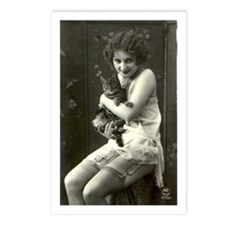 Vintage Girl with Cat Postcards (Package of 8)
