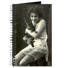 Vintage Woman with Cat Journal