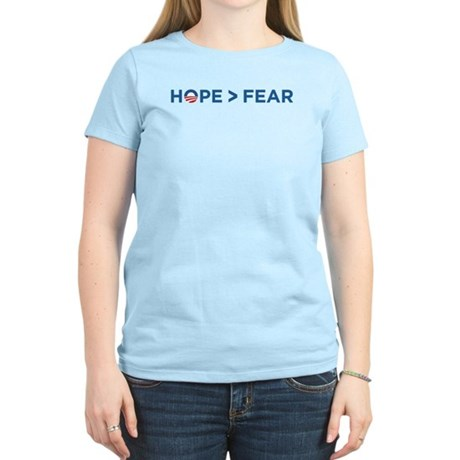 hope > fear barack obama 2008 Women's Light T-Shir