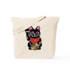 Black Maneki Neko Tote Bag