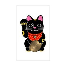 Black Maneki Neko Rectangle Decal