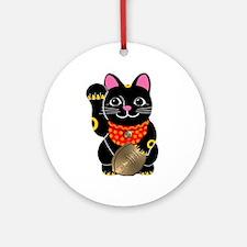 Black Maneki Neko Ornament (Round)
