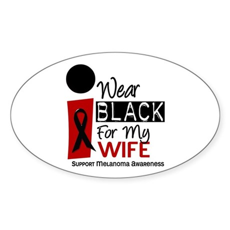 I Wear Black For My Wife 9 Oval Sticker