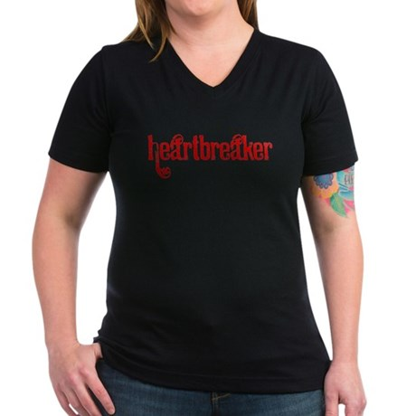 Heartbreaker Women's V-Neck Dark T-Shirt