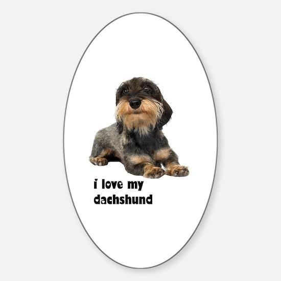 I Love My Dachshund Oval Decal