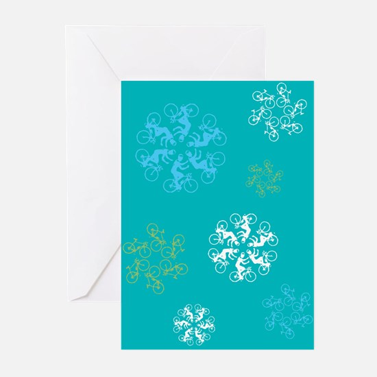 Bicylist Snowflakes Greeting Cards (Pk of 20)