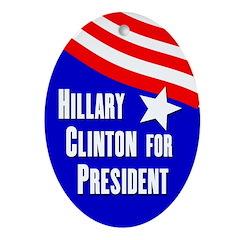 Hillary Clinton 2008 oval ornament
