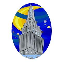 Starry Night New York Oval Ornament