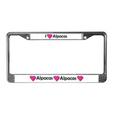 I LUV ALPACAS License Plate Frame