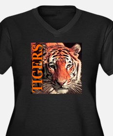 Tigers Women's Plus Size V-Neck Dark T-Shirt