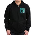 Tigers Exotic Jade Moonlight Zip Hoodie (dark)