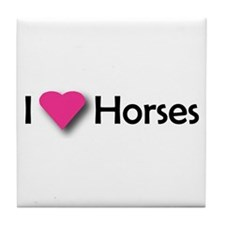 I LUV HORSES Tile Coaster